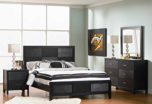 4pc Queen Size Bedroom Set With Wood Grain In Black Finish