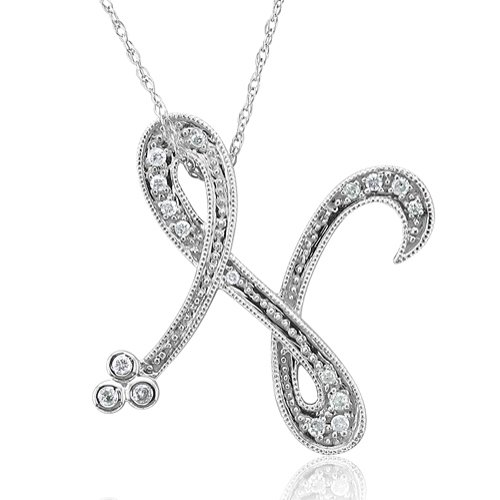 Alphabet N Diamond Initial Pendant in 14k White Gold