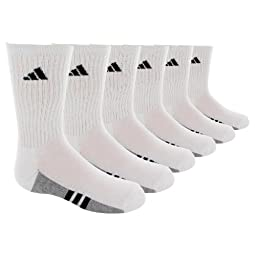 adidas Boys Youth Graphic Large Crew Sock, Pack of 6, White/Black/Aluminum 2, 3-9