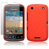 BLACKBERRY CURVE 9380 ORANGE TEXTURED PU LEATHER BACK COVER CASE / SHELL / SHIELD + SCREEN PROTECTOR PART OF THE QUBITS ACCESSORIES RANGEby Qubits