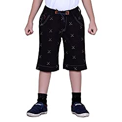 Naveens Black 3/4 Th Printed Capri for Boys_ 9-10 Years