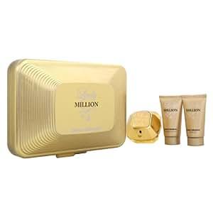 Lady Million Eau De Parfum Spray 80ml/ Shower Gel 50ml and Body Lotion 50ml