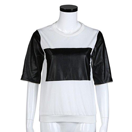 Fheaven New Women Stitching Long Sleeve Zipper Sweater Warm Slim Blouses Top Shirt (L, White)