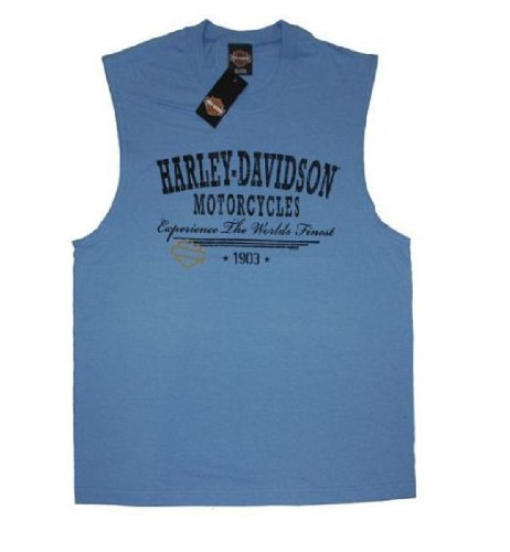 Harley-Davidson® Men's Blue Heritage Sleeveless T-Shirt. House of Harley Graphics on Back. 30291711