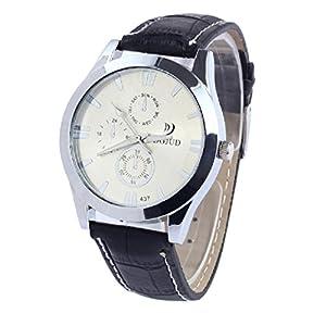 Fashion Luxury Unisex Analog Sport Steel Case Quartz Leather Wrist Watch