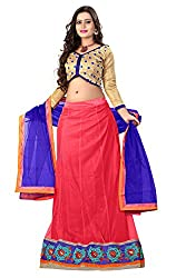 Khoobee Presents Women's Multi Embroidered Stitched Lahenga With Unstitched Blouse Piece.(Pink)