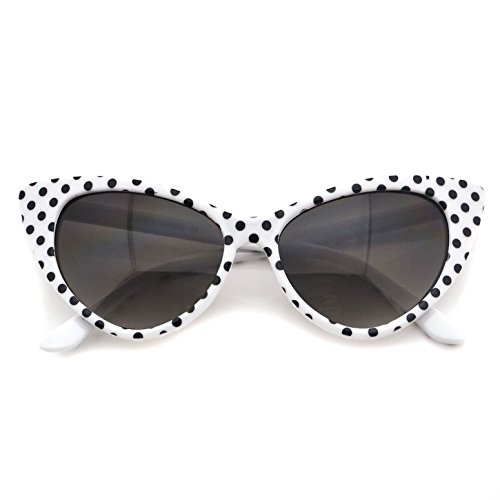 Super Tip Pointed Cateyes Polka Dot Fashion Sunglasses (Vintage Sunglasses Cateye compare prices)