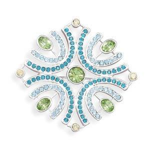 Multicolor Swarovski Crystal Square Design Fashion Pin