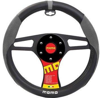 MOMO ITALY SUEDE Steering Wheel Cover Black/Grey/White (Italy Steering Wheel Cover compare prices)