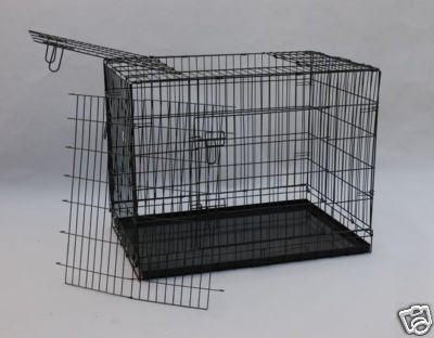 48&#8243; Three Doors Dog Pet Bed House Folding Metal Crate Cage Kennel W/metal Pan and Free Divider