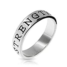 buy Bling Jewelry Sterling Silver Strength Stackable Friendship Band Ring With Free Engraving