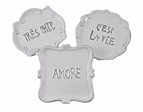 Amore, C'est La Vie, and Tres Chic Decorative Ceramic Trays - Set of 3