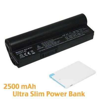 BattPit Notebook Akku für Asus Eee PC 900 16G XP Pearl White (6600mah / 49wh) mit Ultra-Kompakt 1A Ausgang Externer Akku Tragbares USB-Ladegerät 2500mAh mit Lightning für iPhone 5/5s/5c/6/6 Plus, iPad Air / Mini, Micro USB für Android smartphones.
