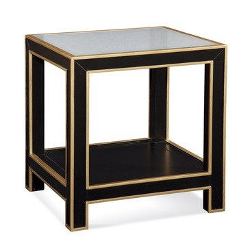 Cheap Bassett Mirror Vendome Square End Table in Black w/ Gold Leaf (T2621-250)
