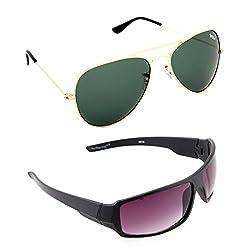 Elligator Stylish Gold Green And NightVision Purple Sunglasses Combo ( Set of 2 )