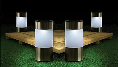 Ardisle 10 x Chrome Solar Power Light LED Outdoor Lighting Powered Garden Round Path way