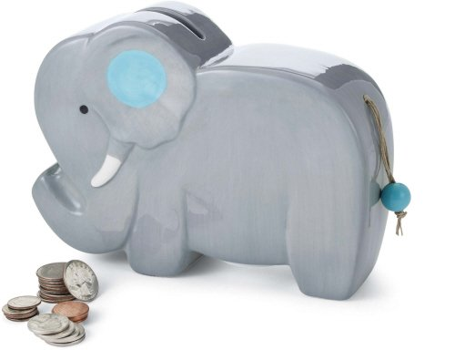 Mud Pie Ceramic Elephant Piggy Bank (Gray) - 1