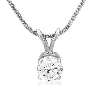 Platinum Round Diamond Solitaire Pendant