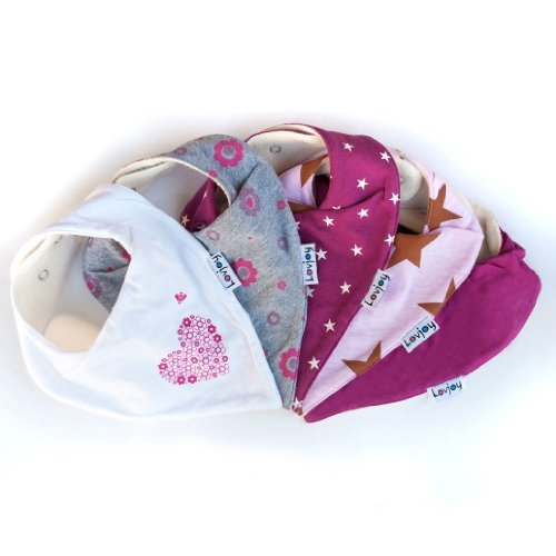 Lovjoy Bandana Bibs - Pack of 5 Girl Designs (Pretty Pinks) - 1