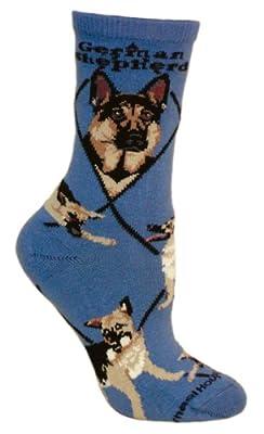 German Shepherd Dog Blue Cotton Ladies Socks