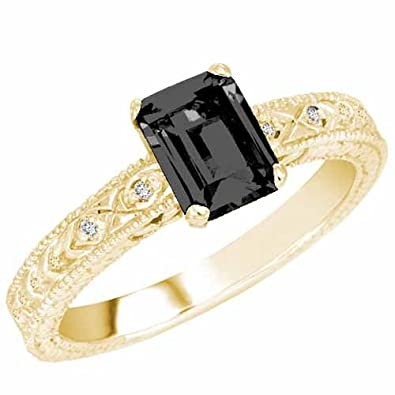 Ryan Jonathan Vintage Style Onyx and Diamond Ring in 14K White Gold