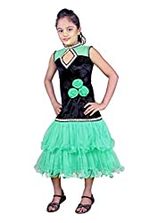 Beautiful Net Partywear Kids Green Lehenga Choli (32 inches , 9-10 Years)