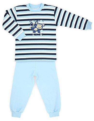 Makoma Baby giovani Pyjama pigiama 2pezzi in maglietta a maniche lunghe e pantaloni (80-104) Blue Monkey 4 anni