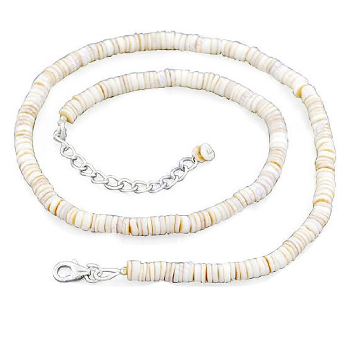 925 Sterling Silver White Shell Gemstone Beaded Beads Strand 18 Inches Necklace Jewelry