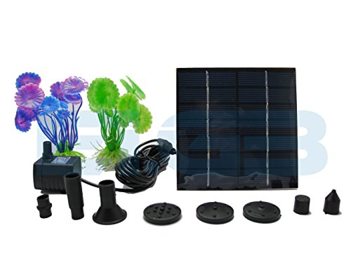 EI.GB Fountain Kit: 1.2W Fountain water pump, Solar powered panel - 5 Flow options - Free decoration gifts - High Water Flow! .Also Suitable for: Garden Solar fountain Bird Bath, Solar Pond Pump. (Solar Panel Pond Heater compare prices)