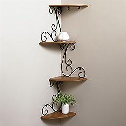 Brylanehome Scroll Corner Shelf (Cherry,0)