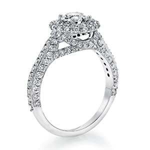 Diamond Engagement Ring 2 ct, J Color, SI2 Clarity, GIA Certified, Round Cut, in 18K Gold / White