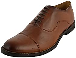 Riron Mens Brown Leather Formal Shoes - 8 UK