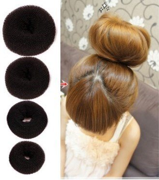 Set of 4 Pieces OPCC Hot Hair Donut Bun Ring Styler Maker,Make The Most Charming Hair Bun,Brown (1 Small 1 Medium 1 Large 1 Extra-large)