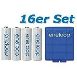 16 pièces Panasonic eneloop pile AA BK-3MCCE avec boîte de rangement bleu de eneloop....