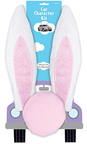 "Amscam Bunny Car Kit Contains 2 Ears and 1 Nose Plush, 16""/8"", Pink"