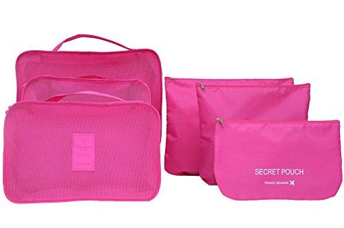 6pcs-set-waterproof-clothes-storage-bags-packing-cube-travel-luggage-organizer-bag-rose