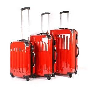 Suitcase Wheeled Travel Hard Shell Luggage Bag Case Blacksilverredpink 20 24 28 20 Red