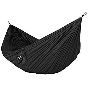 Neolite Trek Camping Hammock - Lightweight Portable Nylon Parachute Hammock for Backpacking, Travel, Beach, Yard. Hammock Straps & Steel Carabiners Included