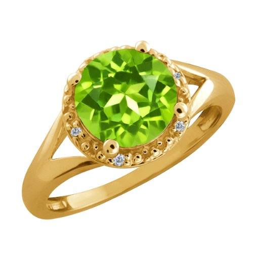 2.04 Ct Round Green Peridot and Diamond Gold Plated Sterling Silver Ring