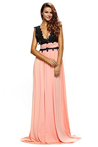 Roswear-Womens-Plunging-V-neck-Lace-Illusion-Bridal-Prom-Evening-Dress
