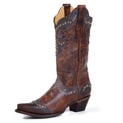 Women's Distressed Brown Studded Fleur De Lis Boots R1216: Shoes