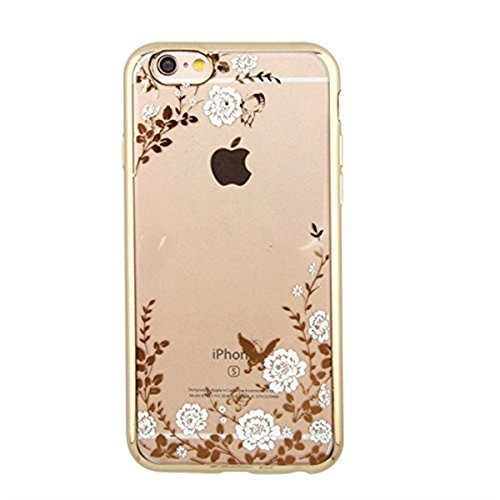 iPhone 7 Case,Inspirationc [Secret Garden] Gold and White PC Plating Clear Shiny Cover Series for Apple iPhone 7 4.7 Inch--Swarovski