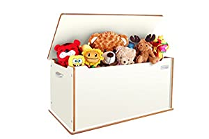 "Little Helper Tty01-6 90 x 46 x 43.5cm Large Wooden ""Toytidy"" Toy Storage Box with Natural Edging (White)"