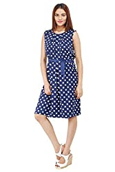 Colornext Crape Blue Dress for Women (Size: Small)