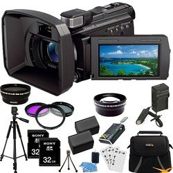 Sony HDR-PJ790V PJ790 HDRPJ790 HDRPJ790V High Definition Handycam Camcorder with 3.0-Inch LCD (Black) ULTIMATE Bundle with 32GB SD Card (qty 2), Full Sized Tripod, Spare Battery, Rapid AC/DC Charger, Wide Angle and 2X Telephoto Lens + MORE