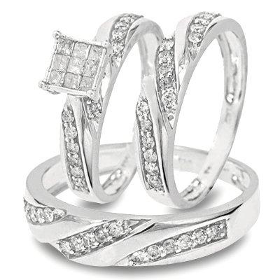 1 Carat T.W. Round, Princess Cut Diamond Trio Matching Ring Set 10K White Gold Three Ring - Ladies Engagement Ring, Wedding Band & Mens Wedding Band - Free Gift Box -