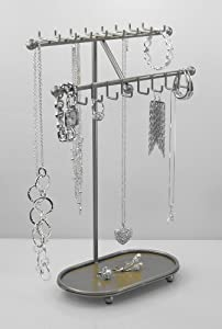 Long Necklace Holder Organizer Jewelry Tree Display Stand Storage Rack (CLICK TO SEE COLORS) Angelynn's - Sharisa Satin Nickel Silver