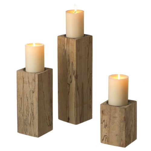 Set of 3 Country Rustic Wooden Block Pillar Candle Holders 14