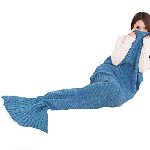 """Le-Dafei Meerjungfrau Decke, Handgemachte Häkeln Meerjungfrau Flosse Decke für kinder, Mermaid Blanket alle Jahreszeiten Schlafsack (73""""*35"""",Blau)"""