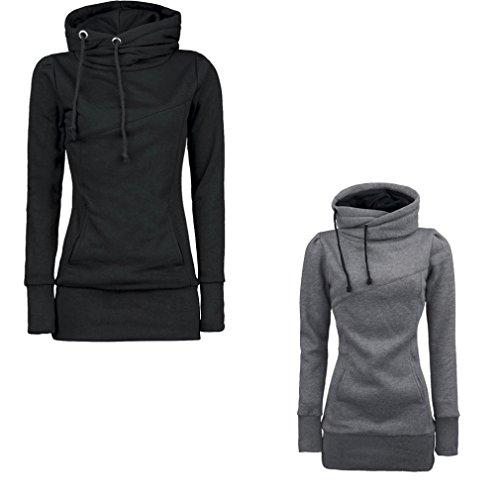 """Felpe Donna, Reasoncool Adatti a donne allentato Pullover maglietta a maniche lunghe camicetta Felpe sportive (XL-Busto:40.9"""", Grigio)"""
